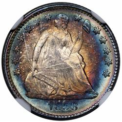 1858 Seated Liberty Half Dime, NGC MS63 CAC.