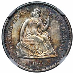 1861 Seated Liberty Half Dime, NGC MS65.