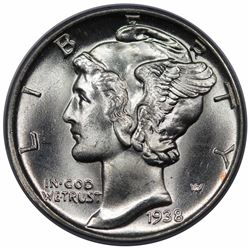 1938-D Mercury Dime, PCGS (OGH) MS66FB.