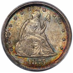 1875-S Twenty Cent Piece, PCGS MS64.