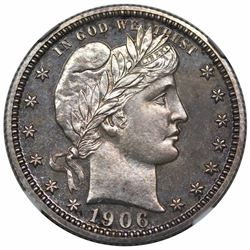 1906 Barber Quarter, NGC PF65.