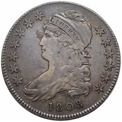 1808 Capped Bust Half Dollar, O-103, R1, VF20.
