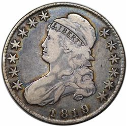 1819/8 Capped Bust Half Dollar, O-105, R2, VF20.