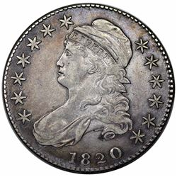 1820 Capped Bust Half Dollar, Curl Base 2, O-103, R1, VF35.