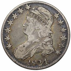 1824 Capped Bust Half Dollar, O-107, R2, VF20.