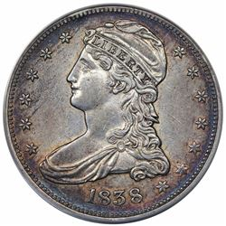 1838 Capped Bust Half Dollar, ANACS AU53 details, cleaned.