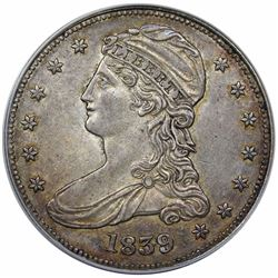 1839 Capped Bust Half Dollar, ANACS AU55 details, scratched.