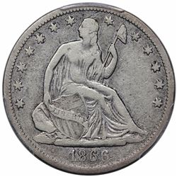 1866-S Seated Liberty Half Dollar, No Motto, PCGS VF20.