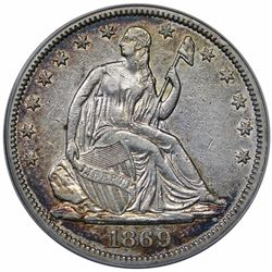 1869 Seated Liberty Half Dollar, ANACS AU50 details, cleaned.