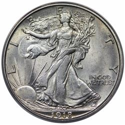 1918-S Walking Liberty Half Dollar, ANACS AU58.