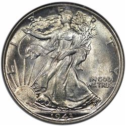 1943 Walking Liberty Half Dollar, NGC MS65.