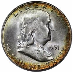 1951-S Franklin Half Dollar, ANACS MS66.