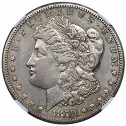 1879-CC Morgan Dollar, NGC XF details, cleaned.