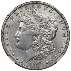 1893-O Morgan Dollar, NGC AU details, cleaned.