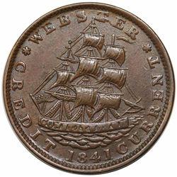 1841 Hard Times Token, Daniel Webster, Low 58, HT-16, AU50.