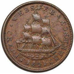 1841 Hard Times Token, Daniel Webster, Low 62, HT-20, XF40.