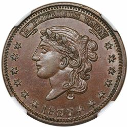 1837 Hard Times Token, Liberty, Not One Cent, Low 28, HT-42, NGC MS64BN.