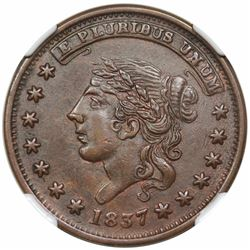 1837 Hard Times Token, Liberty, Not One Cent, Low 33, HT-48, NGC AU58.