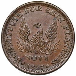 1837 Hard Times Token, May Tenth, Low 48, HT-67, AU50.