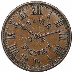 1837 Hard Times Token, New York, NY: Smith's Clocks, Low 138, HT-317, XF40.