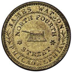 (1835) Hard Times Token, Philadelphia, PA: James Watson, Low 384A, HT-421A, gilt brass, AU58.