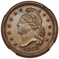 1863 Civil War Token, Peace Forever, Fuld 25/418a, NGC MS64BN.