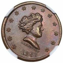 1863 Civil War Token, Millions For Defence, Fuld 43/388a, NGC MS63BN.