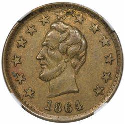 1864 Civil War Token, Lincoln, O.K., Fuld 125/248b, NGC AU details, obverse damage.
