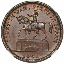 1863 Civil War Token, First in War, First in Peace, Fuld 174/272a, NGC MS63BN.