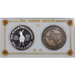 1977 Texas Numismatic Society Fort Worth Convention Medals, 2 piece set in original case.