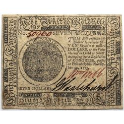 Continental Currency November 29, 1775 $7 Fr#CC-17 S/N 50960 PMG 63.