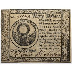 Continental Currency February 26, 1777 $30 Fr#CC-62 S/N 5480 PMG 58.