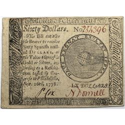 Continental Currency September 26, 1778 $60 Fr#CC-86 S/N 254396 PMG 55.