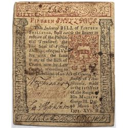 Pennsylvania March 20, 1771 15s Fr#PA-148 S/N 2465 Francis Hopkinson signed PMG 50.