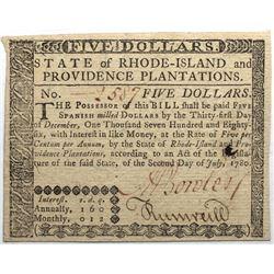 Rhode Island July 2, 1780 $5 Fr#RI-286 S/N 2587 PMG 63.