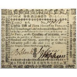 Virginia October 16, 1780 $400 Fr#VA-195 S/N 17012 PMG 35.