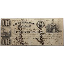 Houston, Texas: Government of Texas, 1838-39 $10, Cr. H17, PMG 25.