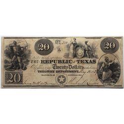 Austin, Texas: Republic of Texas, May 21, 1839 $20, Cr. A6, Legacy 25, Fricke Silver PLUS.