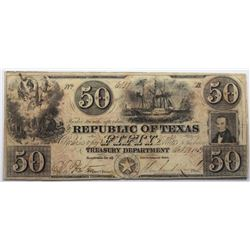 Austin, Texas: Republic of Texas, October 29, 1839 $50, Cr. A7, Legacy 25.