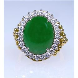 Marvelous High Quality Green Jade and Diamond Ring