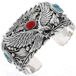 Navajo Turquoise Coral Sterling Silver Eagle Cuff