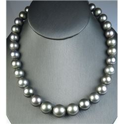 Luxurious Strand of Large Silver Tahitian