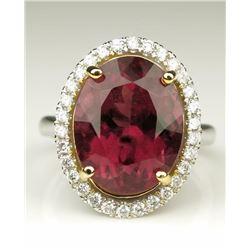 Beautiful Pink Tourmaline and Diamond Ring