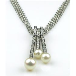 Elegant Pearl and Diamond Necklace