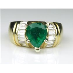 Striking Fine Emerald and Diamond Ring