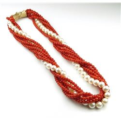 High Quality Pearl and Red Coral Necklace