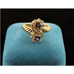 Montana sapphire and diamond ring set