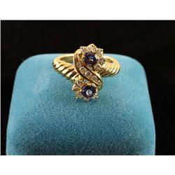 Montana sapphire and diamond ring set