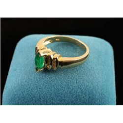 Marquee Cut Emerald & Diamond Ring