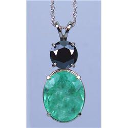 Alluring 11.25 carat Emerald and Black Diamond